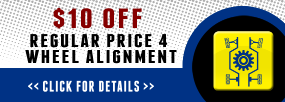 $10 Off Regular Price 4 Wheel Alignment